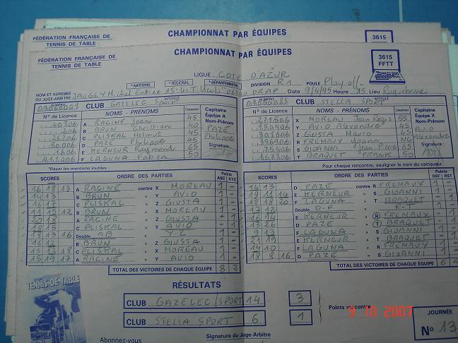 Feuille match 1995